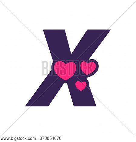Simple And Cute Illustration Logo Design Initial X Love.