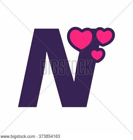 Simple And Cute Illustration Logo Design Initial N Love.