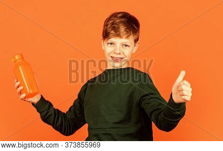 I Approve It. Happy Child Show Thumbs Up For Drink. Promoting Healthy Drinking Habits At Young Age.