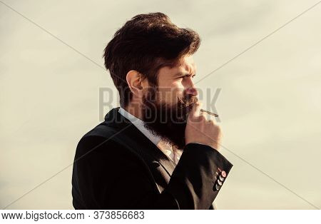 Guy With Cigarette Enjoy Nicotine Influence. Truth About Smoking Pleasure And Nicotine Addiction. Ma