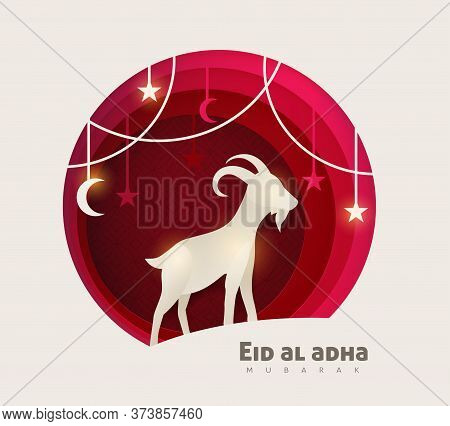 Eid Al Adha Mubarak The Celebration Of Muslim Community Festival Background Design With Goat And Sta