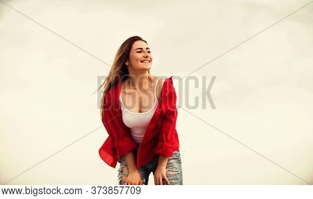 Young And Free Concept. Stylish Girl Outdoors. Street Style. Most Budget Friendly Looks And Ways To