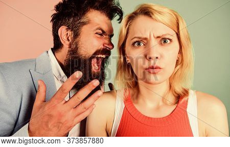 Man Shout On Woman. Problems In Relationship. Bad Family Relations. Couple Of Angry Man And Scared G