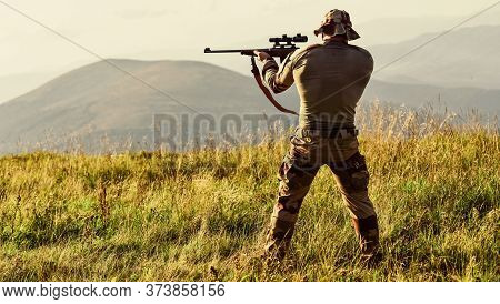 Nice Shot. Army Forces. Man Military Clothes With Weapon. Brutal Warrior. Rifle For Hunting. Hunter