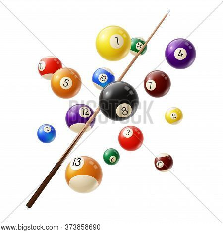 Billiard Balls And Cue 3d Realistic Vector. Various Color Billiard Balls With Digits Flying In Air,