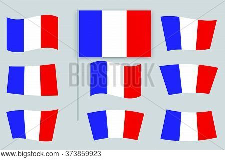 Flags Of France. Illustration Of A French Symbol. National French Sign.