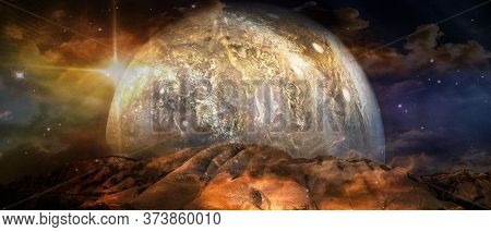 Beautiful Multicolor Landscape Of An Alien Planet. Elements Of This Image Furnished By Nasa.