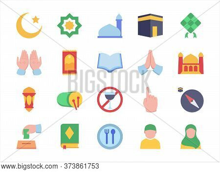 Moslem Icon Set Mosque Praying Hand Mosque Crescent Moon Rug Fasting Lantern Apologize Filled Color