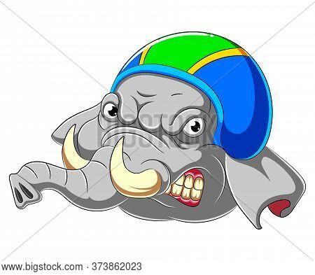 Elephant Wearing Helmet Of Racer Of Illustration