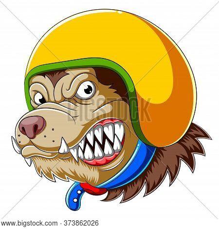Dog Wearing Helmet Of Racer Of Illustration