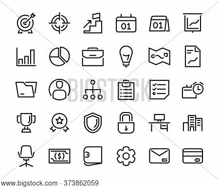 Business Icon Set Goal Calender Schedule Chart Location Bulb Idea Structure Shield Security Computer