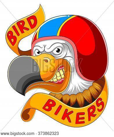 Bird Wearing Helmet Of Racer Of Illustration