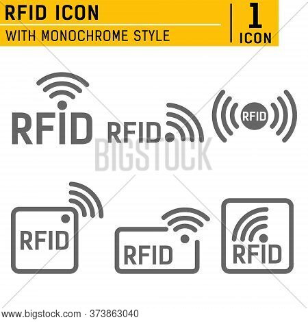 Monochrome Set Of Icons Rfid. Set Of Icons Featuring Radio And Radio Waves. Set Of Icons With Differ
