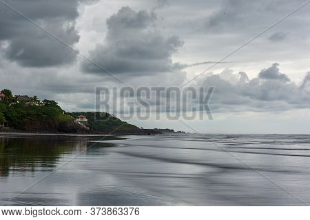 Playa El Cuco Is A El Salvador Beach Town. Its Dark Sands Are Lined With Vendor Huts And Seafood Res