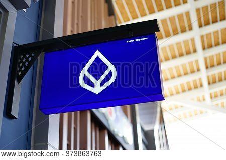 Samut Prakan, Thailand - June 13, 2020: Logo Of Bangkok Bank In Central Village, Samut Prakan, Thail