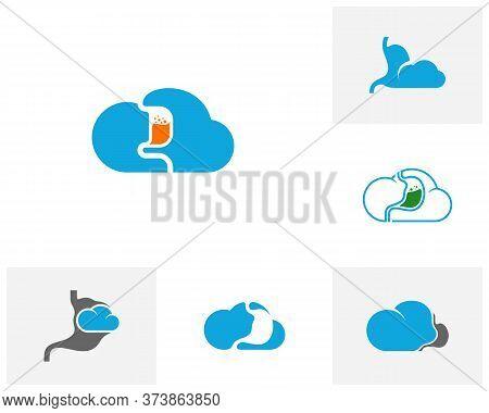 Set Of Cloud Stomach Logo Vector Template, Creative Stomach Logo Design Concepts