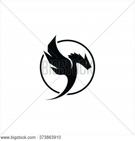 Flying Dragon Logo Simple Vector In Round Frame For Template, Icon Or Tattoo Design Idea