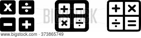Calculator Icon Isolated On Background Operations, Plus, School, Sign