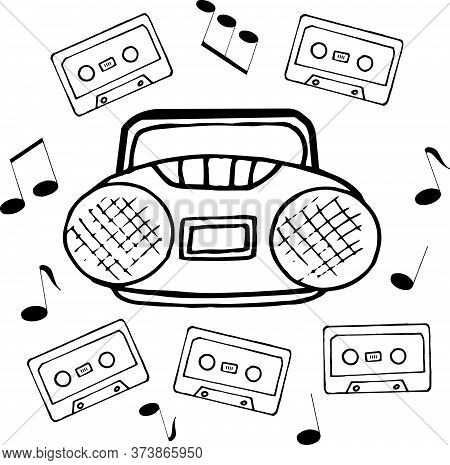Tape Recorder, Musical Notes And Cassette Hand Drawn In Doodle Style. Vector, Scandinavian, Monochro