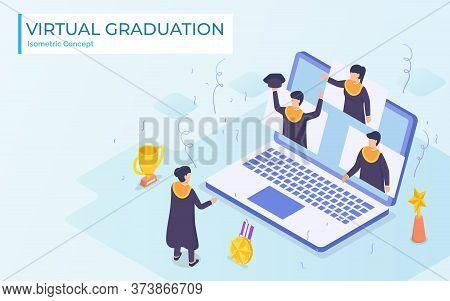 Virtual Graduation Video Conference Use Laptop University College High School Student Ceremony Weari
