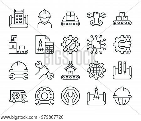 Engineering Icons. Engineering And Manufacturing Line Icon Set. Vector Illustration. Editable Stroke