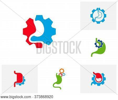 Set Of Stomach Gear Logo Vector Template, Creative Stomach Logo Design Concepts
