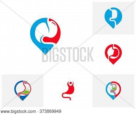 Set Of Stomach Point Logo Vector Template, Creative Stomach Logo Design Concepts