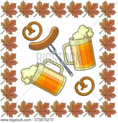 Oktoberfest Symbols, Beer And Sausage, Pretzels And Maple Leaves