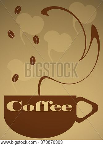 Illustration of Coffee Mug with Steam and Beans