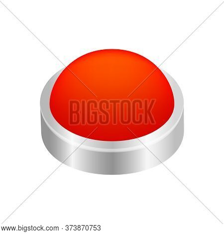Button Circle Shape Red For Buttons Games Play Isolated On White, Red Modern Button Convex, Sphere B