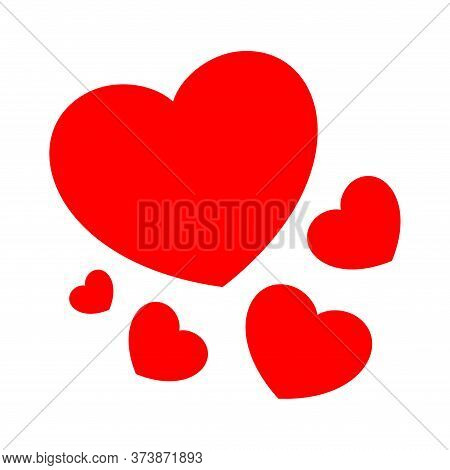 Heart Shape Red Cute Isolated On White, Simple Heart Plain, Icon Heart-shaped Minimal For Decoration