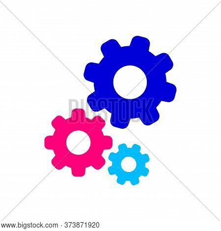 Cog Gear Colorful For Mechanization Icon Isolated On White, Gear Symbol For Button Icon For Progress