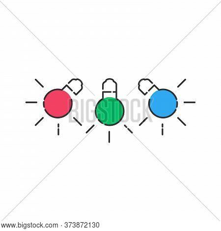 Rgb Light Bulbs Lamp Icon. Linear Light Bulbs With Color Blobs. Stock Vector Illustration Isolated O