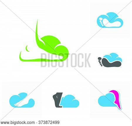 Set Of Cloud Foot Logo Vector Template, Creative Of Foot Logo Design Concepts