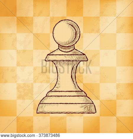 Pawn - Chess Piece On Aged Yellowed Checkered Background. Hand Drawn Sketch In Vintage Engraving Sty