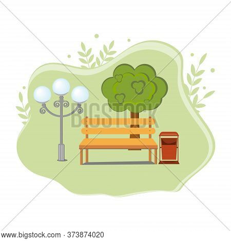 Empty Park With A Bench, Lantern And Urn On A Tree Background, Color Vector Illustration In Flat Sty