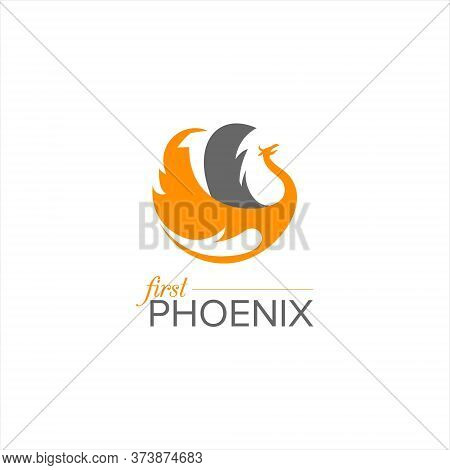 Flying Phoenix Logo Simple Modern With Orange Color In Round Circle Frame For Icon Design Template