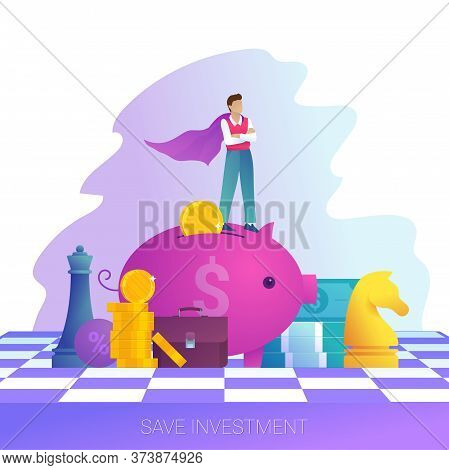 Concept Of Save Investment, Business Strategy And Leadership. Businessman In Superman Cloak Stands O
