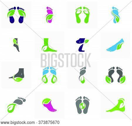 Set Of Nature Foot Logo Vector Template, Creative Of Foot Logo Design Concepts