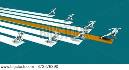 Leadership and Winning the Business Race Concept 3D Render