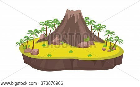 Volcanic Island With Palm Trees. Ancient Large Volcano Center Platform Stones Scattered By Eruption