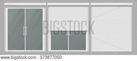 Window With Roller Shutter Up And Close. Plastic Pvc Double Casement Blinds. Opened And Shut Front V