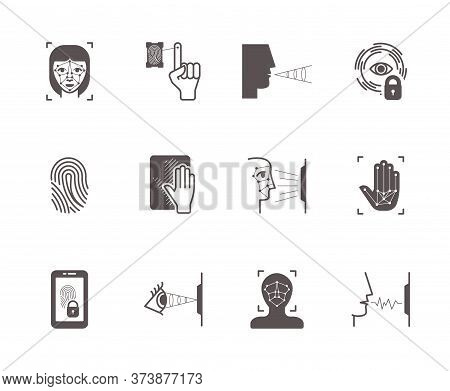 Biometric Recognition System Icons Set. Face Scanning, Fingerprint Palm Identification Opening Lock