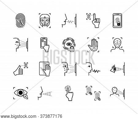 Recognition Biometric Icons System Set. Fingerprint Palm Identification Appearance Biometry Face Sca