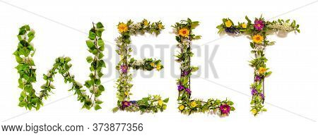 Flower And Blossom Letter Building Word Welt Means World