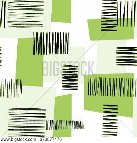 Green White And Black Abstract Modern Art Geometric Collage Seamless Pattern. Contemporary Art Seaml