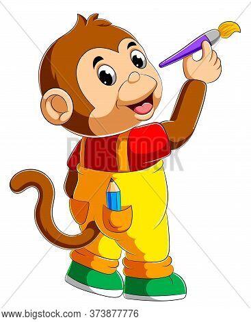 Cute Monkey Holding Paint Brush Of Illustration