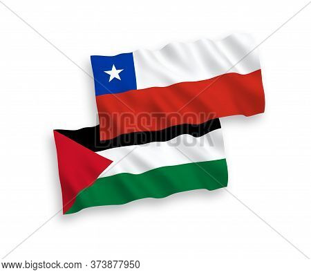 National Fabric Wave Flags Of Chile And Palestine Isolated On White Background. 1 To 2 Proportion.