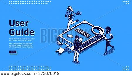 User Guide Isometric Landing Page, Tiny People Around Of Huge Manual Book, Woman Carry Documents, Ma