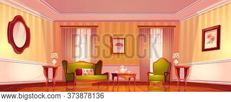Victorian Living Room, Old Royal Baroque Empty Interior In Classical Empire Style, Comfortable Luxur